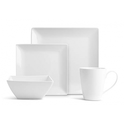 Royalty Art 32 Pc. Square Pure Porcelain Dishes Set – White Dinner Plates, Bowls, Coffee Cups