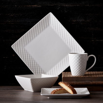 Royalty Art 32 Pc. Square Basketweave Porcelain Dishes Set – White Dinner Plates, Bowls, Coffee Cups