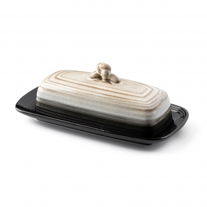 Ceramic Butter Dish w Handle (Midnight) Cover and Plate 2-Piece Combo Dark, Contemporary Kitchen Décor Decorative, Modern Design for Kitchen, Dining Room